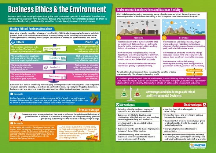 Ethics & the Environment, Accounting, Finance, Quantitative Data, Financial Data, Market Share, Market Growth, Marketing, A1 Poster, Economics, Business, Teaching Resources, Poster, Bright Education Australia