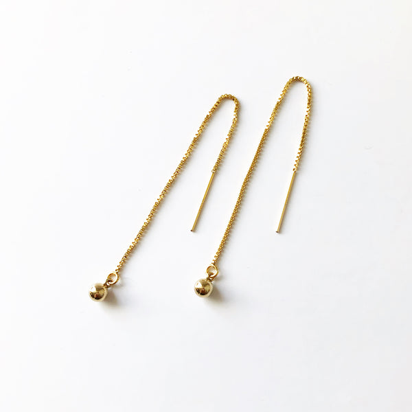 handmade, gold ball threader earrings with a box chain and 14k gold filled ball detail