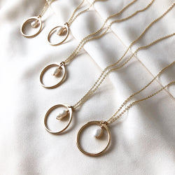 handmade, gold circle necklace with pearl and gold cable chain