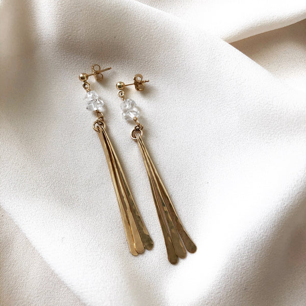 handmade earrings, 14k gold filled tassel earrings with herkimer diamonds and stud earrings