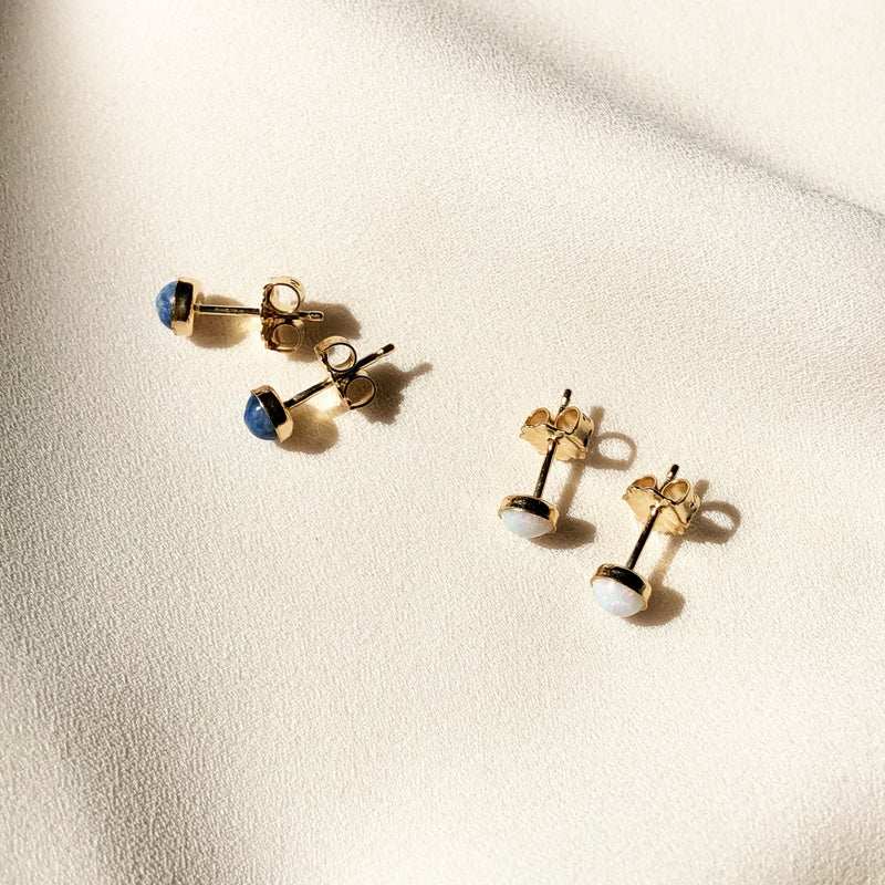 14k gold filled stud earrings with opal or denim lapis stones