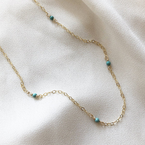 turquoise stone necklace on a 14k gold filled chain