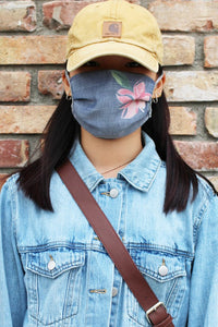 Harvest Navy Floral Print Mask