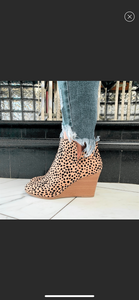 The Ability Faux Suede wedge Bootie In Leopard