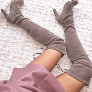 Light taupe OTK slouchy drawstring fitted boots
