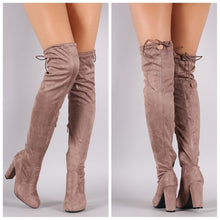 Load image into Gallery viewer, Light taupe OTK slouchy drawstring fitted boots