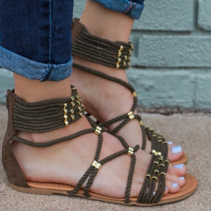 Khaki gladiator strappy rope ankle cuff sandal