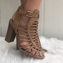 Load image into Gallery viewer, Dark Sand tan strappy stacked Heel