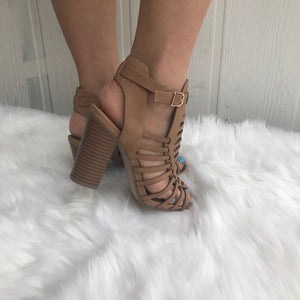 Dark Sand tan strappy stacked Heel