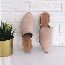 Load image into Gallery viewer, Taupe Stitched Nubuck Mule Ballerina Flats