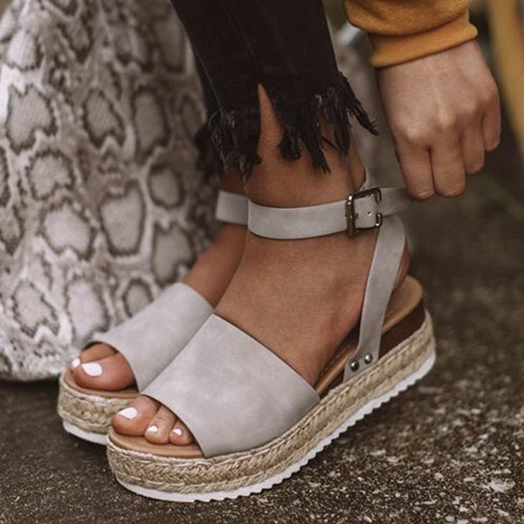 Grey Single Strap Espadrille Sandal
