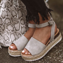 Load image into Gallery viewer, Grey Single Strap Espadrille Sandal