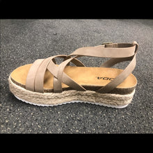 Load image into Gallery viewer, Dark Natural Strappy Flatform Sandal Espadrille