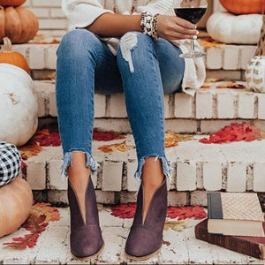 Wine Ramona Front V-cut Closed Toe Bootie