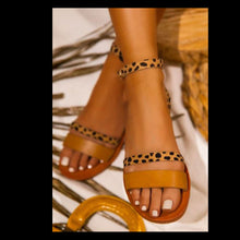 Load image into Gallery viewer, Tan Leopard Double Strap adjustable sandal MD84