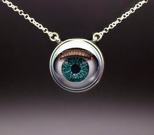 Load image into Gallery viewer, Aqua doll eye necklace on plain background