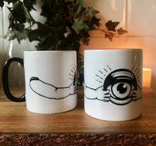 Load image into Gallery viewer, creepy horror mugs. black and white halloween mugs