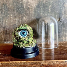 Load image into Gallery viewer, Moss covered doll eye sat on black plastic base next to dome.