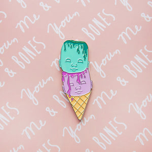 Enamel Pin - Ice Cream Doll Heads