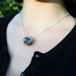 alternative gothic pin up jewellery silver grey eyeball necklace statement necklace