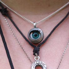 Load image into Gallery viewer, eyeball necklace statement jewelry sleepy doll eye retro doll parts