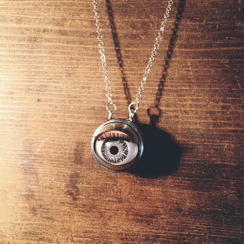 zombie grey doll eye necklace creepy jewellery jawline jewellery