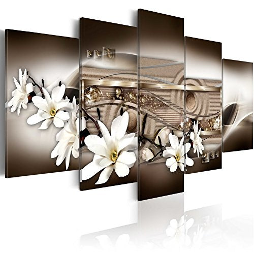 "Large Flower Art Print Canvas Painting Contemporary Wall Picture Home Decoration for Bedroom Modern Floral Artwork Framed Ready to Hang (60""x30"", Chocolate)"