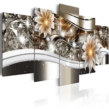 "Load image into Gallery viewer, Large Flower Art Print Canvas Painting Contemporary Wall Picture Home Decoration for Bedroom Modern Floral Artwork Framed Ready to Hang (60""x30"", Chocolate)"