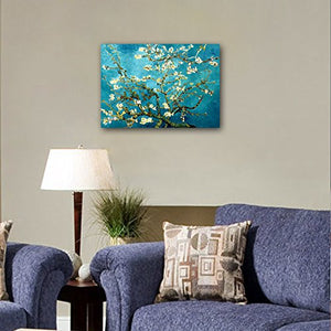Wieco Art Giclee Canvas Prints Wall Art for Wall Decor by Van Gogh Paintings Almond Blossom Modern One Piece Stretched and Framed Abstract Flowers Artwork Home Office Decorations