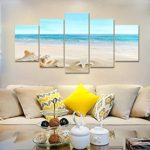 Pyradecor Sea Shells Giclee Canvas Prints Modern Seascape Artwork Landscape Pictures Paintings on Stretched and Framed Canvas Wall Art for Home Decor Extra Large