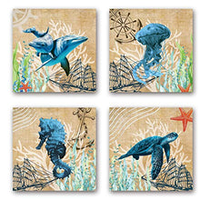 Load image into Gallery viewer, Yatehui Sea Animal Wall Art Ocean Theme 4 Panel Seahorse Whale Crab Lobster Sealife Canvas Prints Bathroom Pictures Ready to Hang 12 x 12 Inches