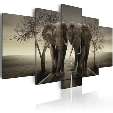 Konda Art Framed African Elephant Canvas Print Modern Wall Art Grey Painting Home Decor 5 Piece Animal Artwork for Bedroom Ready to Hang (It's a Wild World!, 40