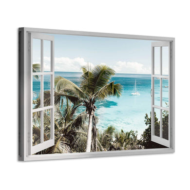 Beach Window Canvas Wall Art: Open Window Tropical Palm Trees & Boat in Blue Ocean Prints Artwork for Office (36'' x 24'' x 1 Panel)