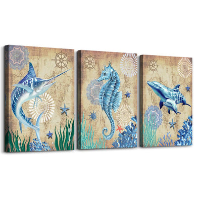 blue Ocean Theme hippocampus Sword shark fish Canvas Wall Art For Living Room bathroom Wall Decor Watercolor painting 12