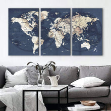 "Load image into Gallery viewer, Original by BoxColors LARGE 30""x 60"" 3 panels 30x20 Ea Art Canvas Print gray yellow old Map World Push Pin Travel Wall decor home living room (framed 1.5"" depth) M1951"