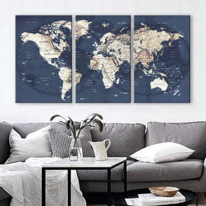 "Original by BoxColors LARGE 30""x 60"" 3 panels 30x20 Ea Art Canvas Print gray yellow old Map World Push Pin Travel Wall decor home living room (framed 1.5"" depth) M1951"