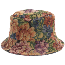 Load image into Gallery viewer, HAND-MADE FLORAL BUCKET HAT - BLUE
