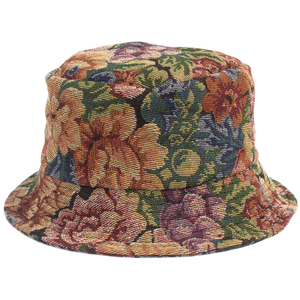 HAND-MADE FLORAL BUCKET HAT - BLUE
