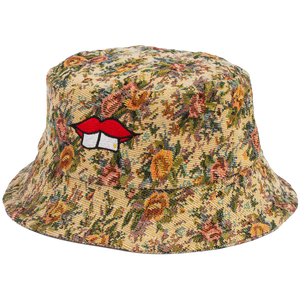 HAND-MADE FLORAL BUCKET HAT - RED