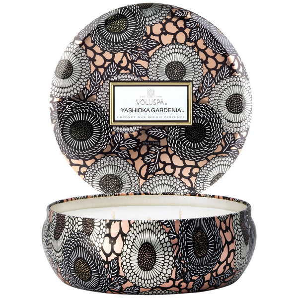 Yashioka Gardenia 3 wick Candle in Decorative Tin