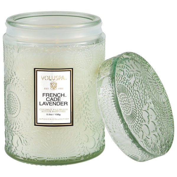 French Cade Lavender Embossed Glass Jar with lid