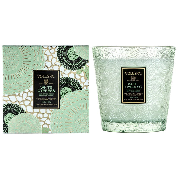 White Cypress 2 wick Hearth Candle