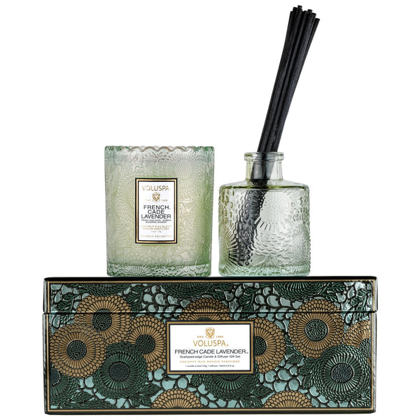 French Cade Lavender Scalloped Edge Candle and Diffuser Set
