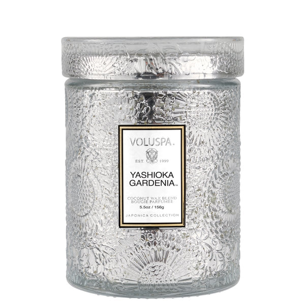 Yashioka Gardenia Embossed Glass Jar with lid