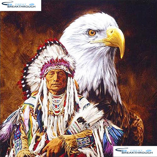 "HOMFUN Full Square/Round Drill 5D DIY Diamond Painting ""Indian Eagle"" 3D Embroidery Cross Stitch 5D Home Decor A07511"