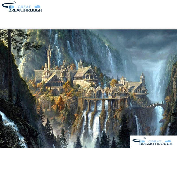"HOMFUN Full Square/Round Drill 5D DIY Diamond Painting ""Castle landscape"" Embroidery Cross Stitch 5D Home Decor Gift A07600"