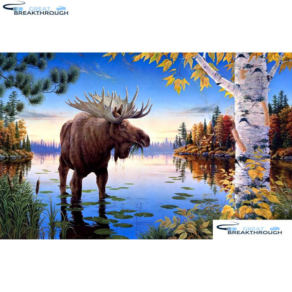 "HOMFUN Full Square/Round Drill 5D DIY Diamond Painting ""Animal moose"" Embroidery Cross Stitch 5D Home Decor A14254"