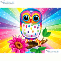 "HOMFUN Full Square/Round Drill 5D DIY Diamond Painting ""Cartoon owl flower""3D Diamond Embroidery Cross Stitch Home Decor A20029"