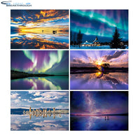 "HOMFUN Full Square/Round Drill 5D DIY Diamond Painting ""Aurora scenery"" 3D Diamond Embroidery Cross Stitch Home Decor Gift"