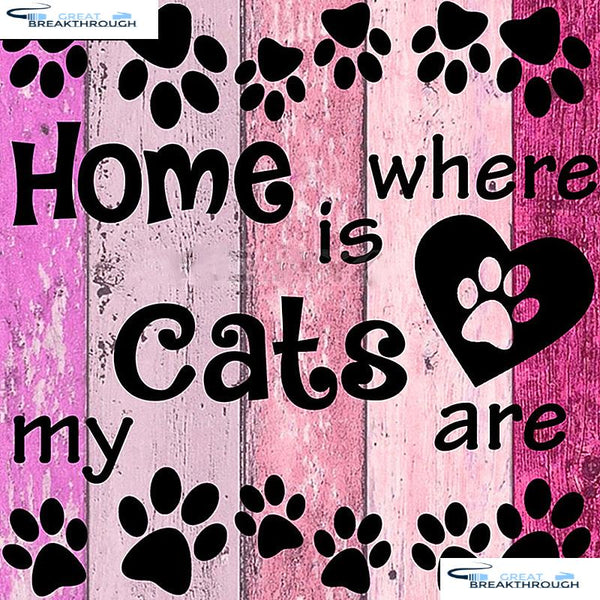 "HOMFUN Full Square/Round Drill 5D DIY Diamond Painting ""Cats Home"" 3D Embroidery Cross Stitch 5D Home Decor A07620"
